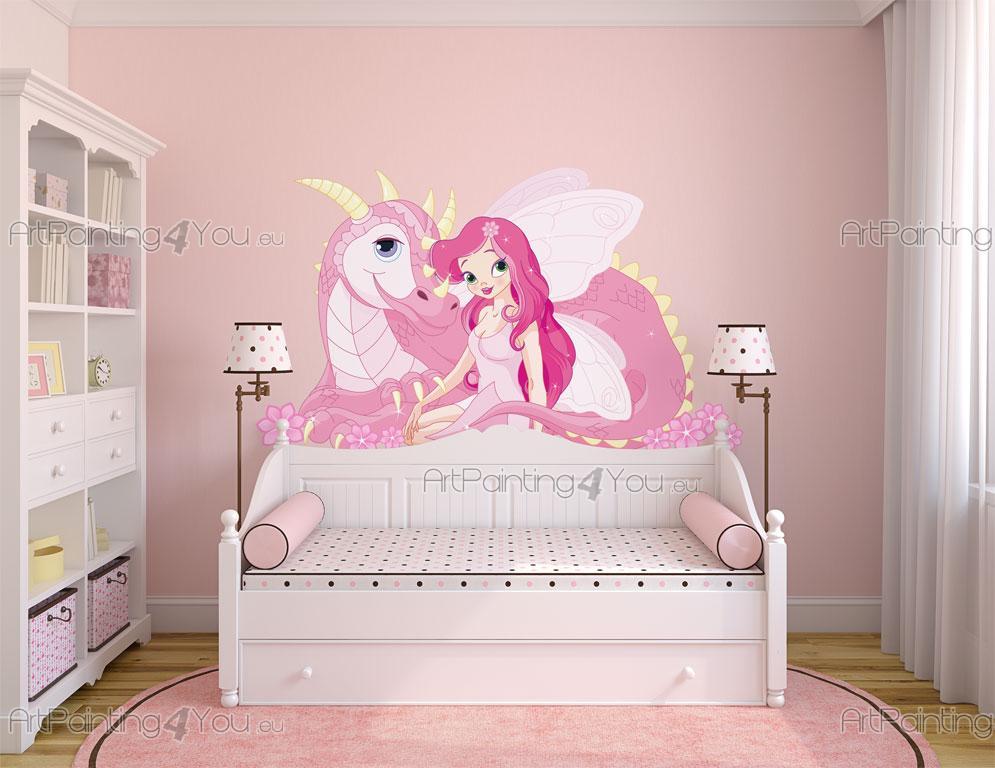 stickers muraux chambre fille f e dragon. Black Bedroom Furniture Sets. Home Design Ideas