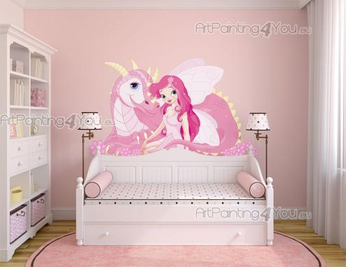 Girls Wall Stickers Princesses & Fairies - Give the kids room an enchanted colour supplement with the help of these wall stickers. Surprise your little girl with a big decal with a pink, kind d...