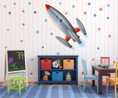 Fly across the sky towards outer space! Decorate the kids room with this set of wall stickers featuring a crewed space rocket and many stars that will guide your children in their journey to new worlds.