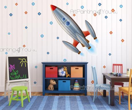 Wall Stickers for Kids - Fly across the sky towards outer space! Decorate the kids room with this set of wall stickers featuring a crewed space rocket and many stars that will...