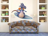 Funny Dragon - Radical sports can be played any time of the year, but surf tastes better on Summer! This wall decal has a blue dragon that is a renown surfer and he will help your kids lose their fears. Just apply the sticker on a bedroom wall.