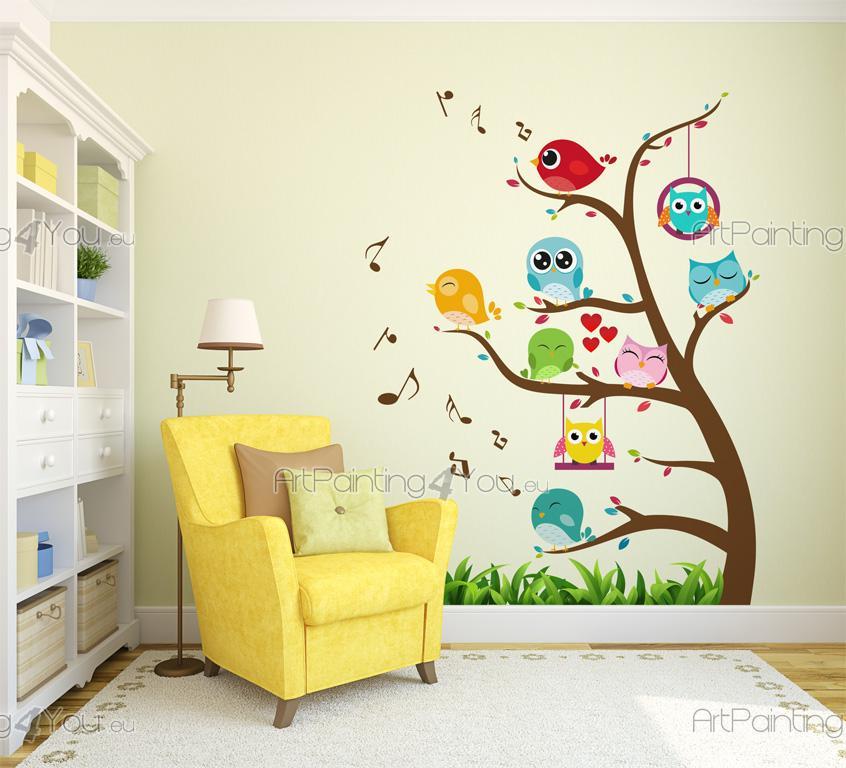 Wandsticker Kinderzimmer Baum mit Vögel & Eulen | ArtPainting4You.eu ...
