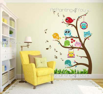 Tree with Cute Birds & Owls - Decorate a nursery or kids room with wall decals. Have a little colourful sticker garden indoors. Plant some grass and a little tree and watch it become a gathering point for singing birds and playful owls!
