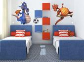 Decorate the kids room with a set of colourful, funny wall stickers! Get them to play more outside with these two big-bellied dragons that love sports: one is a football player, the other a skateboarder.