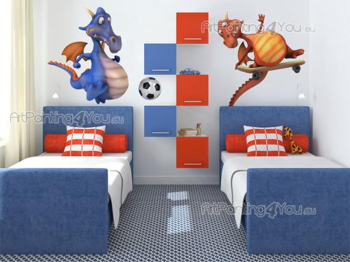 Wall Stickers for Kids - Decorate the kids room with a set of colourful, funny wall stickers! Get them to play more outside with these two big-bellied dragons that love sports...