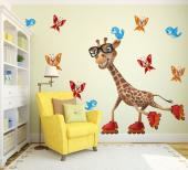 Turn your kids room into a lively safari park with our wall stickers! Add this stylish giraffe wearing glasses and inline skates to their bedroom decor, with additional butterflies and blue birds.