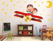 May your children live crazy adventures while dreaming! Use this set of wall decals to decorate the kid room's walls: there's stars, a sleepy crescent and a red Boeing-Stearman 75 piloted by a couple of sassy monkeys.