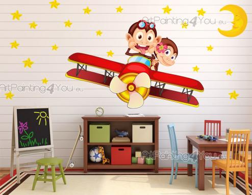 Jungle Wall Stickers for Kids - May your children live crazy adventures while dreaming! Use this set of wall decals to decorate the kid room's walls: there's stars, a sleepy crescent...
