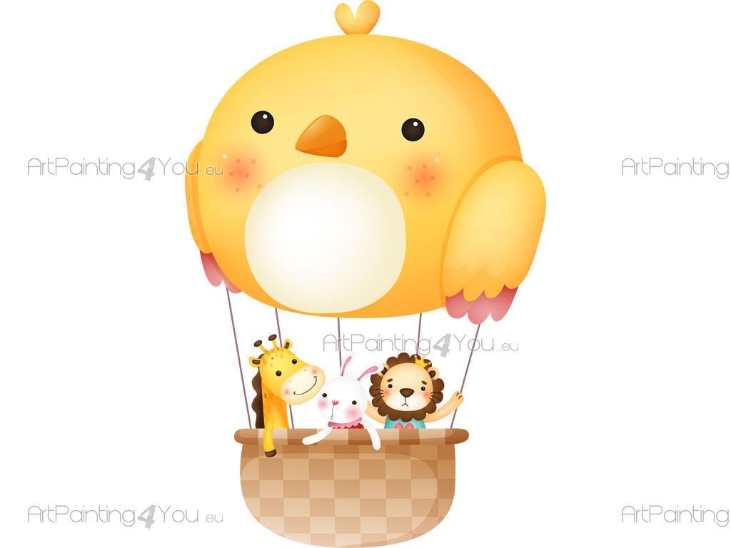 Adesivi murali bambini animale & mongolfiere (2525it)