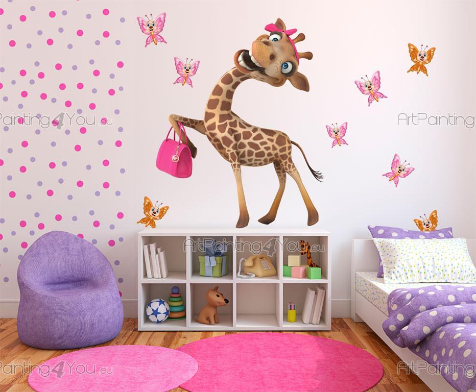 stickers chambre b b girafe papillons 2527fr