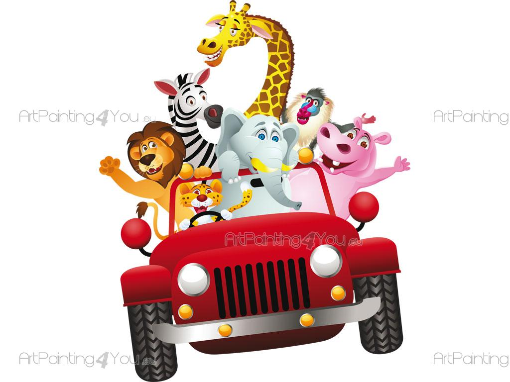 Vinilos Infantiles Coche Con Animales Selva Artpainting4youeu