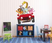 Wall stickers for kids rooms! Go on a crazy safari through the jungle and the savannah on a red truck driven by a leppard, with a lot of friends trying to hold their balance: a lion, a zebra, an elephant, a mandrill, a hippo and a giraffe.