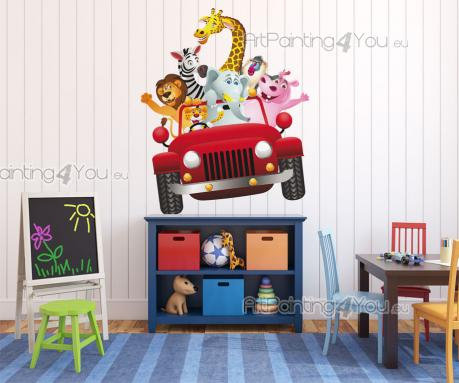 Jungle Wall Stickers for Kids - Wall stickers for kids rooms! Go on a crazy safari through the jungle and the savannah on a red truck driven by a leppard, with a lot of friends tryin...