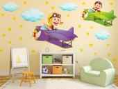 Funny wall decals for kids! Make the room of your boy or girl the most gleeful of the house with this set of stickers to be applied on walls. It has plenty of stars and clouds and two Boeing-Stearman training airplanes piloted by a couple of very naughty monkeys.