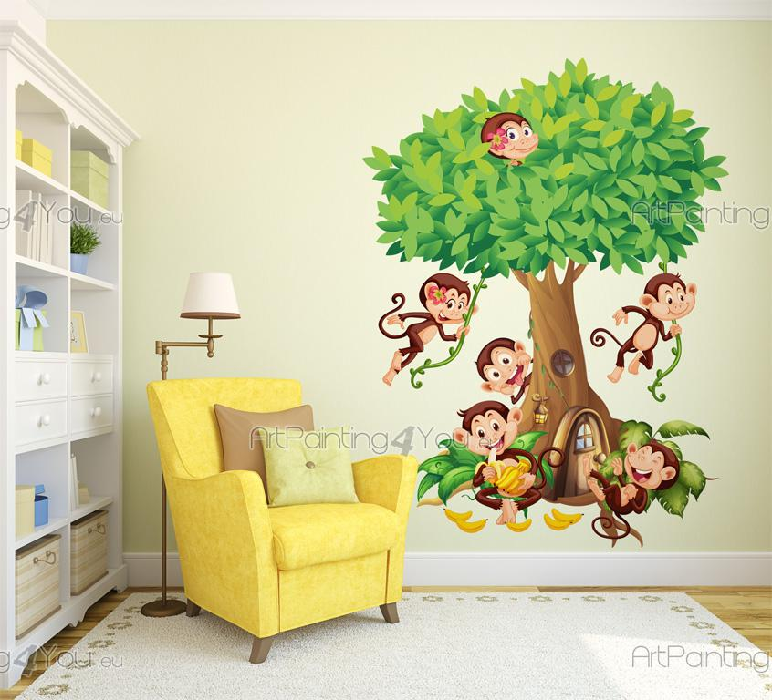 Stickers Muraux Chambre Bébé Singes dans la Jungle | ArtPainting4You ...