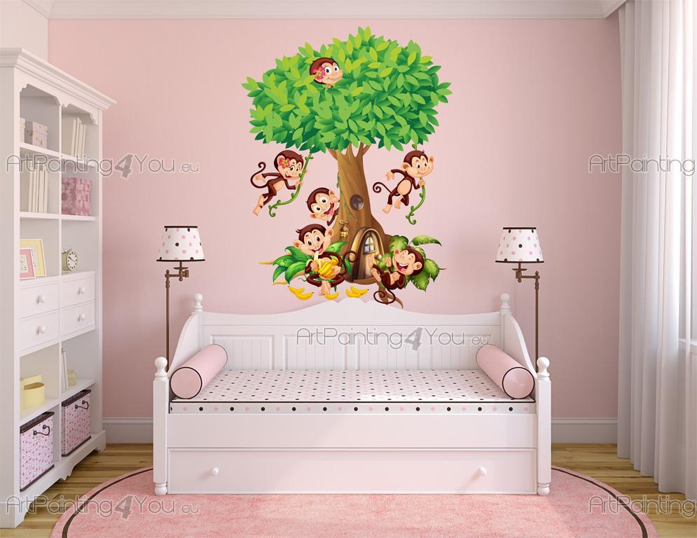 Stickers Muraux Chambre Bébé Singes dans la Jungle | ArtPainting4You ...
