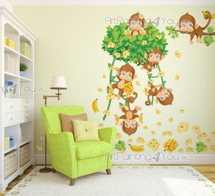 wandtattoo wandsticker kinderzimmer affen im dschungel kit 2635de. Black Bedroom Furniture Sets. Home Design Ideas