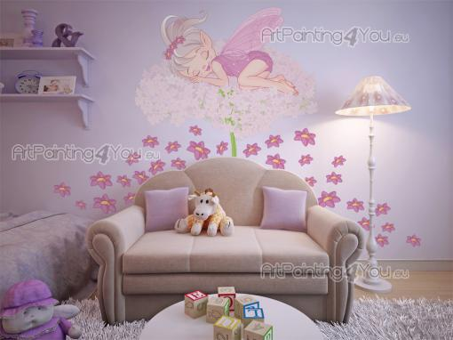 Girls Wall Stickers Princesses & Fairies - Wall decals for nursery or kid room. The night has arrived and the youngest fairy lays down in the fluffiest bed in the woods: a chive flower in the m...