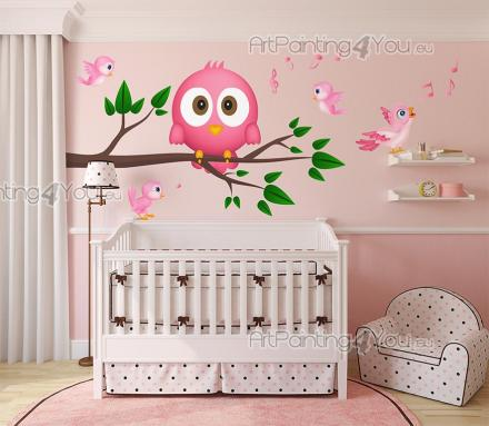 Wall Stickers for Kids - How lovely are the wise owls! Decorate a nursery or kids room with these multicoloured wall decals featuring a chubby pink owl on its branch and littl...
