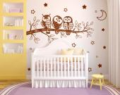 Tree with Cute Owls - Wall decals to decorate a nursery or kids room. Make sure your child sleeps tight in the company of this set of stickers featuring a trio of friendly owls on a tree branch, 24 five-point stars and a crescent.