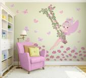 Exclusive wall decals for nursery and kids rooms. Go on an adventure with your little girl to a magical park where you'll meet a cheerful fairy on a swing made with flowery camellia branches. The flowers under your feet are soft and the butterflies flutter happily. Have your kid help you with the appliance of the stickers.