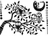 Tree with Cute Owls - Wall decals for a nursery or kids room. Teach your children about the beauty and mysteriousness of the night with these stickers featuring stars and irresistible little owls sitting either on a crescent moon holding a lamp or on a branch full of twigs and leaves.