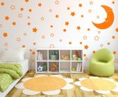 Sleeping time decals! Create a cozy atmosphere in the nursery or children room with our set of wall stickers with 68 five-point stars in several sizes and a crescent moon with a sleeping hat on.