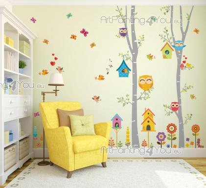 Tree with Cute Birds & Owls - Wall decals for a nursery, playing room or kids room. It's Spring in the Thousand-Colours Woods and the children want to apply some stickers with you! The trees are so high they touch the ceiling, the birdhouses are painted beautifully, the singing birds are falling in love amidst the butterflies, the owl family goes out for a bit of sunshine, the caterpillar searches for fresh leaves, the flowers look lovely.