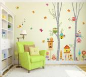 Tree with Cute Birds & Owls - Wall decals for a nursery, playing room or kid bedroom. Take a trip to the Thousand-Colours Woods and play amongst young trees, cute owls, lovely singing birds, mesmerizing butterflies, many sorts or herbs and flowers and a friendly caterpillar. The stickers can be applied by your kids.