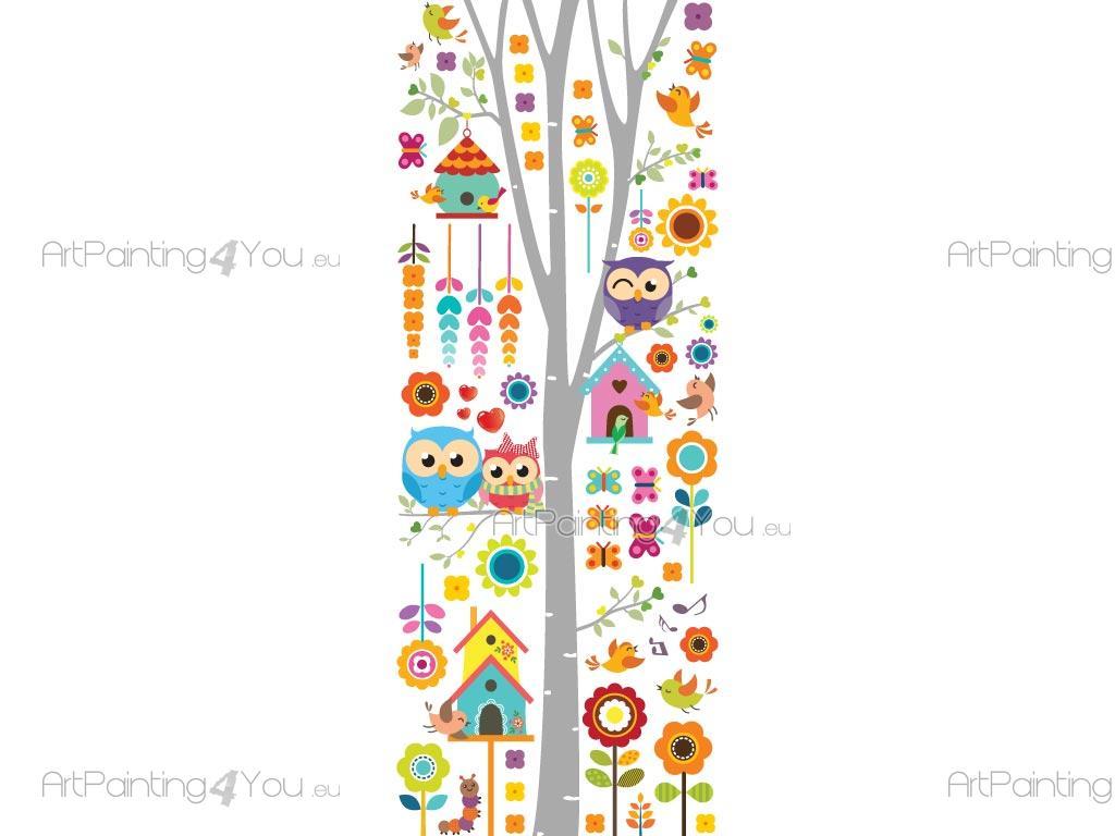 Wandsticker Kinderzimmer Baum mit Vögel & Eulen | ArtPainting4You.eu®