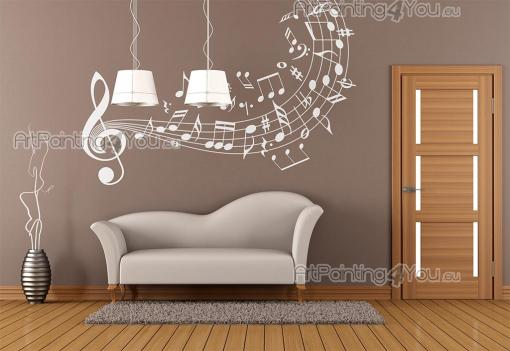 Music & Dance Wall Stickers - Wall stickers for music lovers. Decorate a living room, bedroom or music classroom with this decal featuring a treble clef that expands into a staff (...