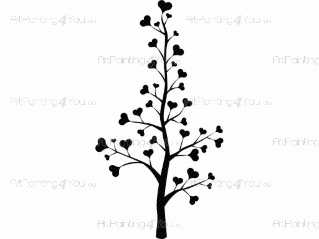 Väggdekor Grå : Väggdekor romantisk kärlek träd sv