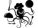 Kitchen Wall Stickers - Wish you could spend more time in the kitchen? Go for a wall decal that will motivate you! This sticker features a funny, flexible octopus that is rea...