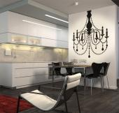 Chandelier - Elegant wall stickers for your living or dining room. Apply our decal of a baroque chandelier on a wall and enjoy its charm, arm-lights and pendants!