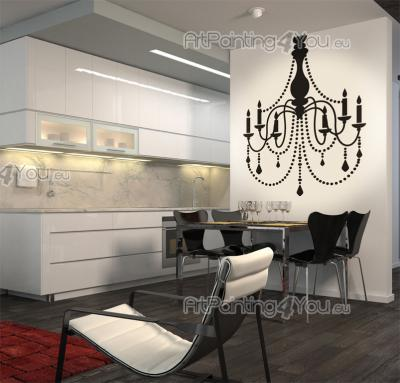 Wall Stickers - Elegant wall stickers for your living or dining room. Apply our decal of a baroque chandelier on a wall and enjoy its charm, arm-lights and pendants!...