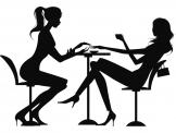 Silhouettes Wall Stickers - Show how comfy your beauty parlor can be with a wall decal like this. The silhouette sticker shows an esthetician doing a manicure to a client who is ...
