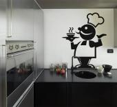 Kitchen Wall Stickers - Kitchen wall decals with funny silhouettes. If you like to talk with chefs about gastronomic trends, go for our sticker of a chatty chef who seems rea...