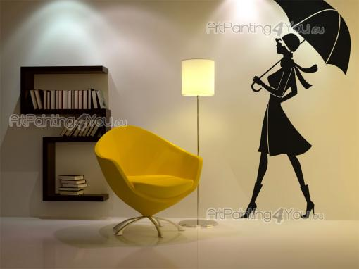 Silhouettes Wall Stickers - A stylish woman walks downtown under her umbrella. Her silhouette, featured on this wall decal, could be placed in a fashion store she would visit or ...