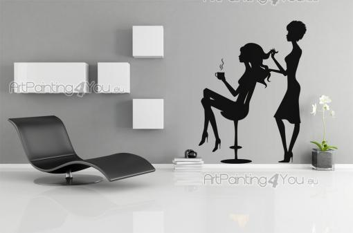 Silhouettes Wall Stickers - Make your hair salon a more appealing space with our wall decals! Apply on the showcase this silhouettes featuring a hairdresser softening the wavy ha...