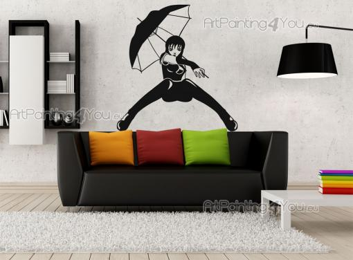 Silhouettes Wall Stickers - Are you a fan of manga, the Japanese comic books? This wall decal is inspired on leading ladies from action stories. It features a strong ninja who at...