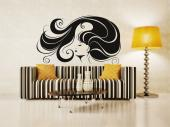 Silhouettes Wall Stickers - Embellish your hair salon with our wall decals. Here is the visage of a woman whose hair radiates beauty and health; it is so long, yet so light that ...