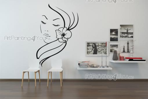 Silhouettes Wall Stickers - Turn your hair salon into a truly inviting place with our wall decals! Place, for instance, this simple design on a wall. It shows the calm face of a ...
