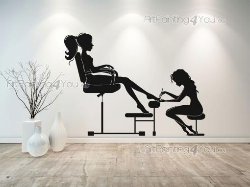 Silhouettes Wall Stickers - Wall decals for beauty salons and esthetic centers. Apply on a wall this sticker featuring a cosmetologist carefully pedicuring a young client....