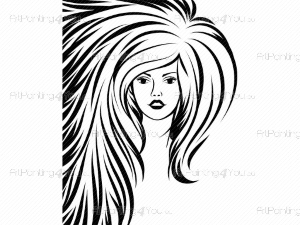 Väggdekor Grå : Väggdekor silhouettes frisörsalong sv