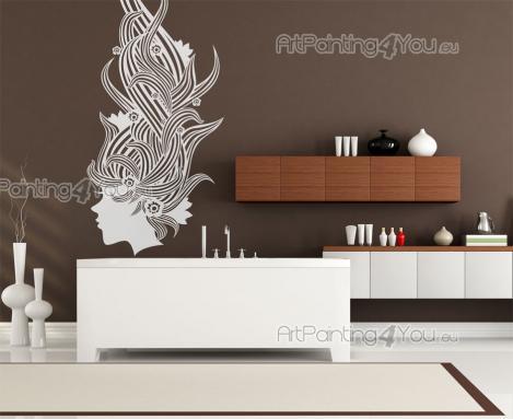 stickers muraux silhouettes salon de coiffure 2390fr. Black Bedroom Furniture Sets. Home Design Ideas