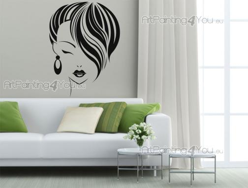 Silhouettes Wall Stickers - Wall stickers for hair salons! If you run a beauty salon, then think about decorating it with elegant wall decals like this, with the visage of a girl...
