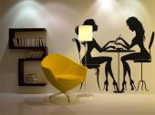 Silhouettes Wall Stickers - Decorate your beauty salon with elegance with the help of our wall stickers. This decal features an esthetician doing a manicure to a client; both are...