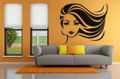 Silhouettes Wall Stickers - Wall decals for hair salons! Finish the decor of your working place with a nice sticker like this, with the face of a woman with the right amount of m...