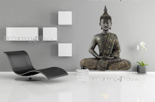 Silhouettes Wall Stickers - Zen wall decals! Reach inner illumination by meditating. This sticker for your living room or hall features a basalt statue of Buddha in lotus positio...