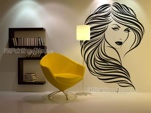 Silhouettes Wall Stickers - Use our wall stickers to embellish any sort of space! Apply on a wall of your hair salon a decal with a classic face design. Try not to be hypnotised ...